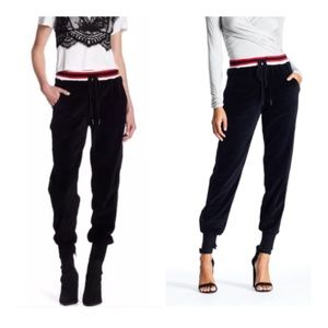 Kendall & Kylee Velour Jogger Pant Black/Red Small